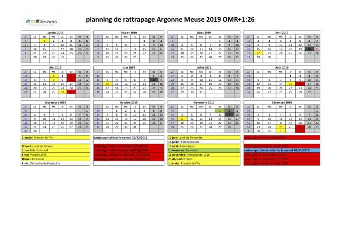 Planning des jours de rattrapage de collecte 2019